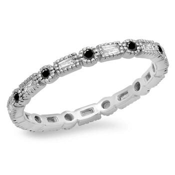 Trang sức Dazzling Rock Dazzlingrock Collection 0.38 Carat (ctw) 14K Round & Baguette Kim cương Nữ Wedding Eternity Band