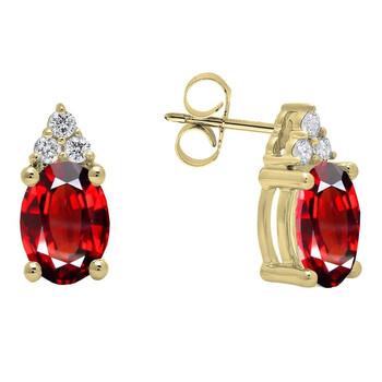 Trang sức Dazzling Rock Dazzlingrock Collection 10K 7X5 MM Oval Garnet & Round Kim cương trắng Nữ Stud Bông tai (khuyên tai