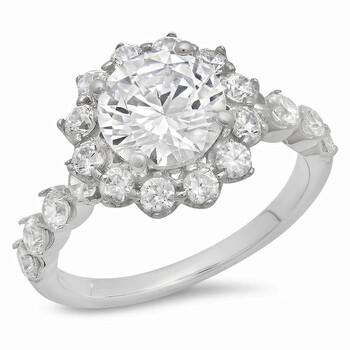 Trang sức Dazzling Rock Dazzlingrock Collection 3.32 Carat (ctw) 14K Round White Cubic Zirconia CZ Nữ Halo Bridal Nhẫn đính hôn