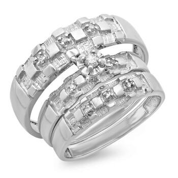 Trang sức Dazzling Rock Dazzlingrock Collection 0.10 Carat (ctw) 10K Round Kim cương trắng Nam & Nữ Nhẫn đính hôn Trio Bridal Set 1/10 CT