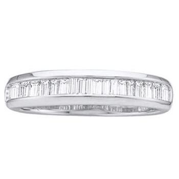 Trang sức Dazzling Rock 0.15 Carat (ctw) Vàng trắng 14K Baguette Cut Kim cương trắng Nữ Thời trang Wedding Band