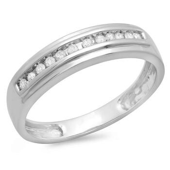 Trang sức Dazzling Rock Dazzlingrock Collection 0.12 Carat (ctw) 10K Round Cut Kim cương Nữ Stackable Anniversary Wedding Band