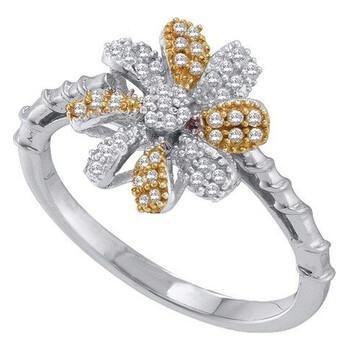 Trang sức Dazzling Rock Dazzlingrock Collection 0.25 Carat (ctw) 10K Kim cương Flower Nhẫn