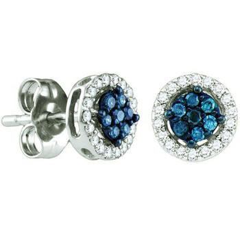 Trang sức Dazzling Rock Dazzlingrock Collection 0.25 Carat (ctw) 10k Blue & Kim cương trắng Nữ Cluster Bông tai (khuyên tai