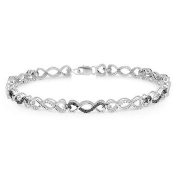 Trang sức Dazzling Rock Dazzlingrock Collection 0.24 Carat (ctw) Đen và Kim cương trắng Nữ Infinity Tennis Link Vòng đeo tay