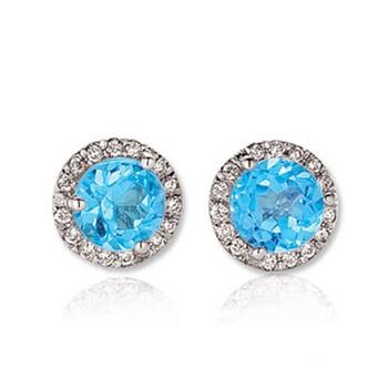 Trang sức Dazzling Rock Dazzlingrock Collection 14K Round Blue Topaz & Kim cương trắng Nữ Halo Style Stud Bông tai (khuyên tai