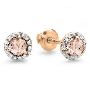 Trang sức Dazzling Rock Dazzlingrock Collection 10K Round Morganite & Kim cương trắng Nữ Halo Style Stud Bông tai (khuyên tai
