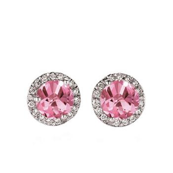 Trang sức Dazzling Rock Dazzlingrock Collection 14K Round Pink Sapphire & Kim cương trắng Nữ Halo Style Stud Bông tai (khuyên tai