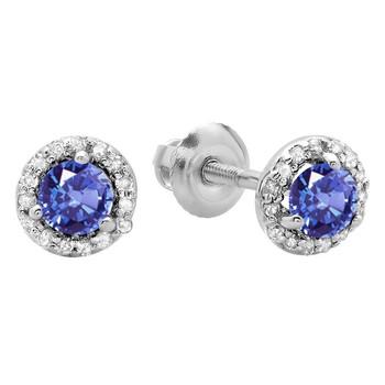 Trang sức Dazzling Rock Dazzlingrock Collection 0.50 Carat (ctw) 14K Round Tanzanite & Kim cương trắng Nữ Halo Style Stud Bông tai (khuyên tai