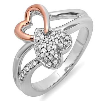 Trang sức Dazzling Rock 0.10 Carat (ctw) Bạc 925 và Pink Gold mạ Kim cương 2 Tone Promise Double Heart Nhẫn đính hôn chính hãng sale giá rẻ Hà nội TPHCM