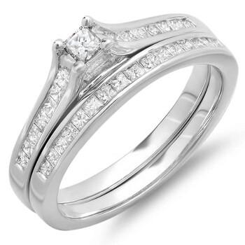 Trang sức Dazzling Rock Dazzlingrock Collection 0.65 Carat (ctw) 10k Princess Kim cương Nữ Bridal Nhẫn Engagement Matching Wedding Band Set