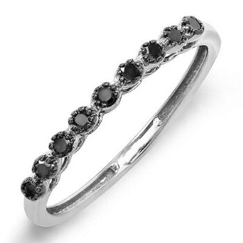 Trang sức Dazzling Rock Dazzlingrock Collection 0.20 Carat (ctw) 10K Round Kim cương đen Wedding Stackable Matching Band 1/5 CT