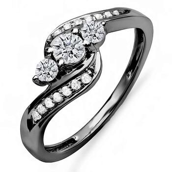Trang sức Dazzling Rock Dazzlingrock Collection 0.50 Carat (ctw) Đen Rhodium mạ 14K Kim cương 3 Stone Bridal Nhẫn 1/2 CT