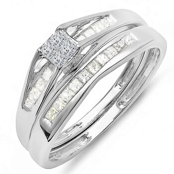 Trang sức Dazzling Rock Dazzlingrock Collection 0.50 Carat (ctw) 14k Princess Kim cương Nữ Bridal Nhẫn Engagement Matching Band Set 1/2 CT