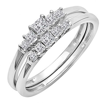 Trang sức Dazzling Rock Dazzlingrock Collection 0.55 Carat (ctw) 10K Princess Kim cương 5 Stone Bridal Nhẫn đính hôn Set 1/2 CT
