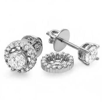Trang sức Dazzling Rock Dazzlingrock Collection 1.00 Carat (ctw) 14K Round Kim cương Halo Stud Bông tai (khuyên tai