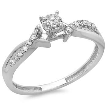 Trang sức Dazzling Rock Dazzlingrock Collection 0.15 Carat (ctw) 10k Round Kim cương Crossover Split Shank Nữ Bridal Promise Nhẫn đính hôn 1/6 CT