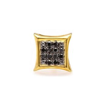 Trang sức Dazzling Rock 0.05 Carat (ctw) Bạc 925 mạ Vàng 18K Round Kim cương đen Stud Earring (1pc) chính hãng sale giá rẻ Hà nội TPHCM