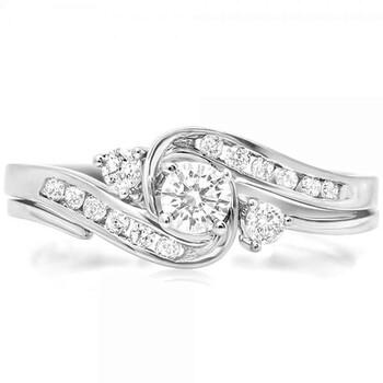 Trang sức Dazzling Rock Dazzlingrock Collection 0.50 Carat (ctw) 10K Kim cương Nữ Swirl Bridal Nhẫn đính hôn Set 1/2 CT