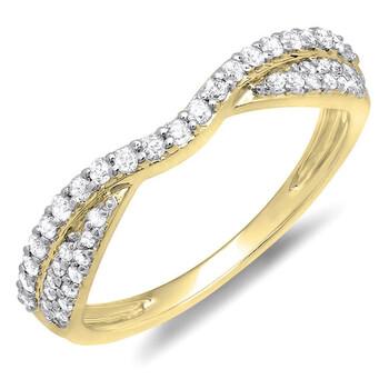 Trang sức Dazzling Rock 0.32 Carat (ctw) 14K Kim cương Nữ Bridal Wedding Stackable Band 1/3 CT