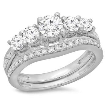 Trang sức Dazzling Rock Dazzlingrock Collection 1.50 Carat (ctw) 14K Round Kim cương 5 Stone Bridal Nhẫn đính hôn Set 1 1/2 CT