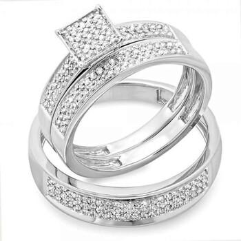 Trang sức Dazzling Rock Dazzlingrock Collection 0.55 Carat (ctw) Round Kim cương trắng Nam & Nữ Micro Pave Nhẫn đính hôn Trio Bridal Set