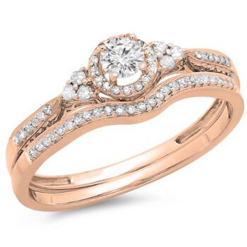 Trang sức Dazzling Rock Dazzlingrock Collection 0.33 Carat (ctw) 14k Round Kim cương Nữ Halo Style Bridal Nhẫn đính hôn Matching Band Set 1/3 CT