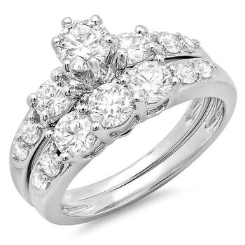 Trang sức Dazzling Rock Dazzlingrock Collection 1.80 Carat (ctw) 14K Round Kim cương Nữ 3 Stone Bridal Nhẫn đính hôn Set