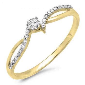 Trang sức Dazzling Rock Dazzlingrock Collection 0.15 Carat (ctw) 10K Round Kim cương Split Shank Bridal Promise Nhẫn đính hôn