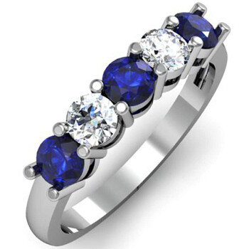 Trang sức Dazzling Rock Dazzlingrock Collection 14K Round Blue Sapphire và Kim cương trắng Nữ 5 Stone Bridal Wedding Band Nhẫn