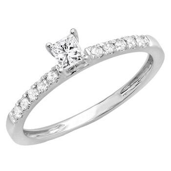 Trang sức Dazzling Rock Dazzlingrock Collection 0.45 Carat (ctw) 14K Princess & Round Kim cương Nhẫn đính hôn nữ 1/2 CT, Vàng trắng, Size 5 chính hãng sale giảm giá sỉ rẻ nhất ở Hà nội TPHCM