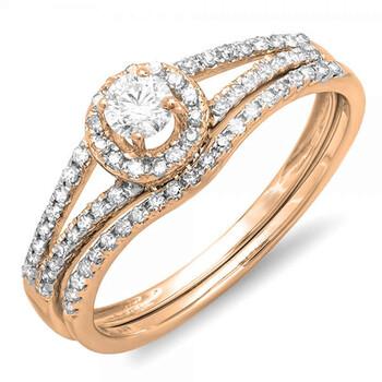 Trang sức Dazzling Rock Dazzlingrock Collection 0.45 Carat (ctw) 14K Round Kim cương Bridal Halo Nhẫn đính hôn Set 1/2 CT, Vàng hồng, Size 7.5 chính hãng sale giảm giá sỉ rẻ nhất ở Hà nội TPHCM