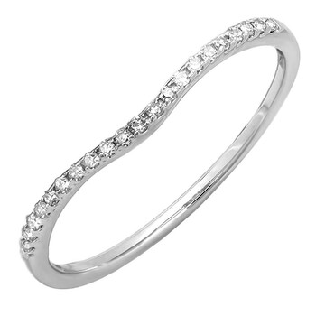 Trang sức Dazzling Rock Dazzlingrock Collection 0.20 Carat (ctw) 14K Round Cut Kim cương trắng Wedding Stackable Band 1/5 CT