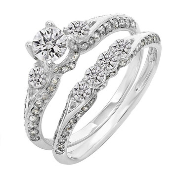 Trang sức Dazzling Rock Dazzlingrock Collection 1.30 Carat (ctw) 14K Round Kim cương Nữ 3 Stone Bridal Nhẫn đính hôn Set