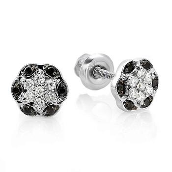 Trang sức Dazzling Rock Dazzlingrock Collection 0.22 Carat (ctw) 10K Đen & Trắng Kim cương Two Tone Flower Fine Cluster Stud Bông tai (khuyên tai