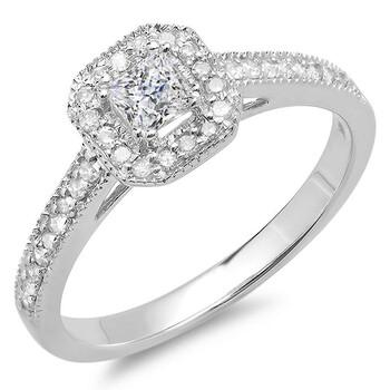 Trang sức Dazzling Rock Dazzlingrock Collection 0.50 Carat (ctw) 14K Princess & Round Kim cương Nhẫn đính hôn nữ 1/2 CT