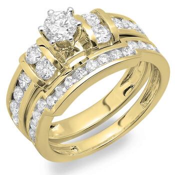 Trang sức Dazzling Rock Dazzlingrock Collection 1.80 Carat (ctw) 14K Round Kim cương Bridal Nhẫn đính hôn Wedding Band Set