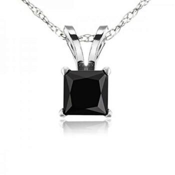 Trang sức Dazzling Rock Dazzlingrock Collection 0.25 Carat (ctw) 10K Princess Cut Kim cương đen Nữ Solitaire Pendant 1/4 CT