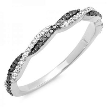 Trang sức Dazzling Rock Dazzlingrock Collection 0.25 Carat (ctw) 14K Đen & Trắng Kim cương Nữ Wedding Band 1/4 CT