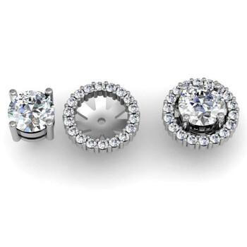 Trang sức Dazzling Rock Dazzlingrock Collection 0.85 Carat (ctw) 14k Round Kim cương trắng Cluster Style Removable Jackets for Stud Bông tai (khuyên tai
