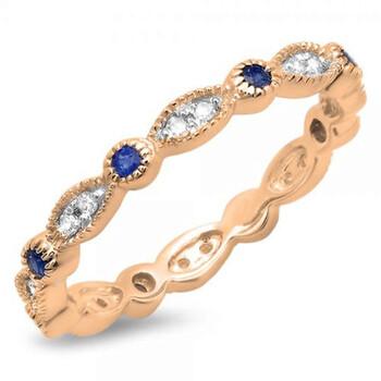 Trang sức Dazzling Rock Dazzlingrock Collection 14K Blue Sapphire và Kim cương trắng Anniversary Wedding Band Stackable Nhẫn