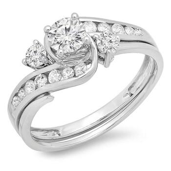 Trang sức Dazzling Rock Dazzlingrock Collection 0.90 Carat (ctw) 10K Round Kim cương Swirl Bridal Nhẫn đính hôn Set