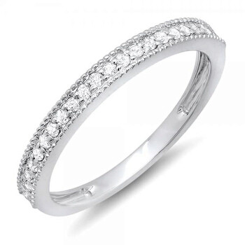 Trang sức Dazzling Rock Dazzlingrock Collection 0.23 Carat (ctw) 14k Round Kim cương Nữ Millgrain Anniversary Wedding Stackable Band 1/4 CT