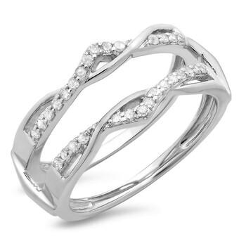 Trang sức Dazzling Rock Dazzlingrock Collection 0.25 Carat (ctw) 14K Round Kim cương Nữ Wedding Enhancer Guard Double Nhẫn 1/4 CT