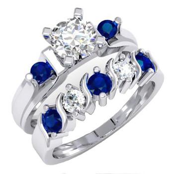 Trang sức Dazzling Rock Dazzlingrock Collection 1.85 Carat (ctw) 10K Blue & White Sapphire 3 Stone Bridal Nhẫn đính hôn Set