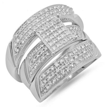 Trang sức Dazzling Rock Dazzlingrock Collection 0.65 Carat (ctw) 10K Round Kim cương Nam & Nữ Micro Pave Nhẫn đính hôn Trio Bridal Set