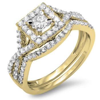 Trang sức Dazzling Rock Dazzlingrock Collection 1.00 Carat (ctw) 14K Princess & Round Kim cương Bridal Halo Nhẫn đính hôn Set 1 CT