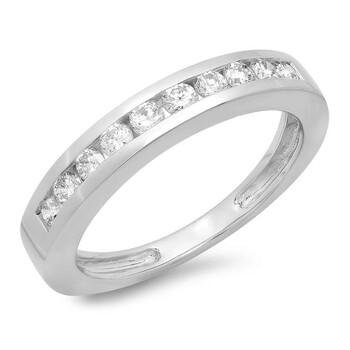 Trang sức Dazzling Rock Dazzlingrock Collection IGI Certified 0.50 Carat (ctw) 14K Round Cut Kim cương Nữ Stackable Wedding Band 1/2 CT