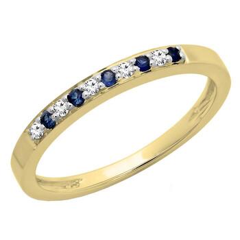Trang sức Dazzling Rock Dazzlingrock Collection 10K Blue Sapphire & Kim cương trắng Nữ Anniversary Wedding Band Stackable Nhẫn