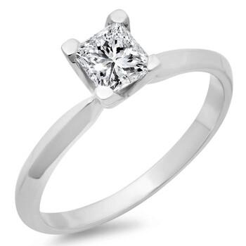 Trang sức Dazzling Rock Dazzlingrock Collection IGI Certified 0.75 Carat (ctw) 14K Princess Kim cương Bridal Solitaire Nhẫn đính hôn 3/4 CT